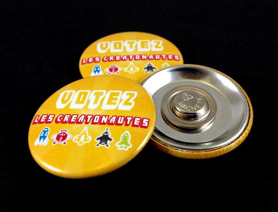 Badges attaches magnétiques Les Créatonautes