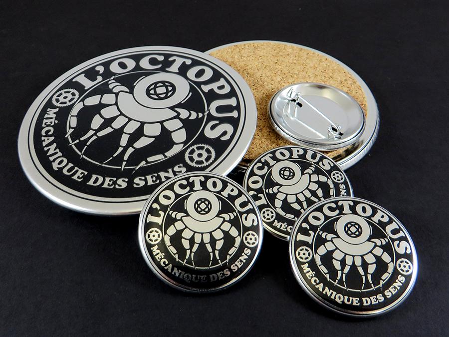 Badges et dessous de verre Octopus