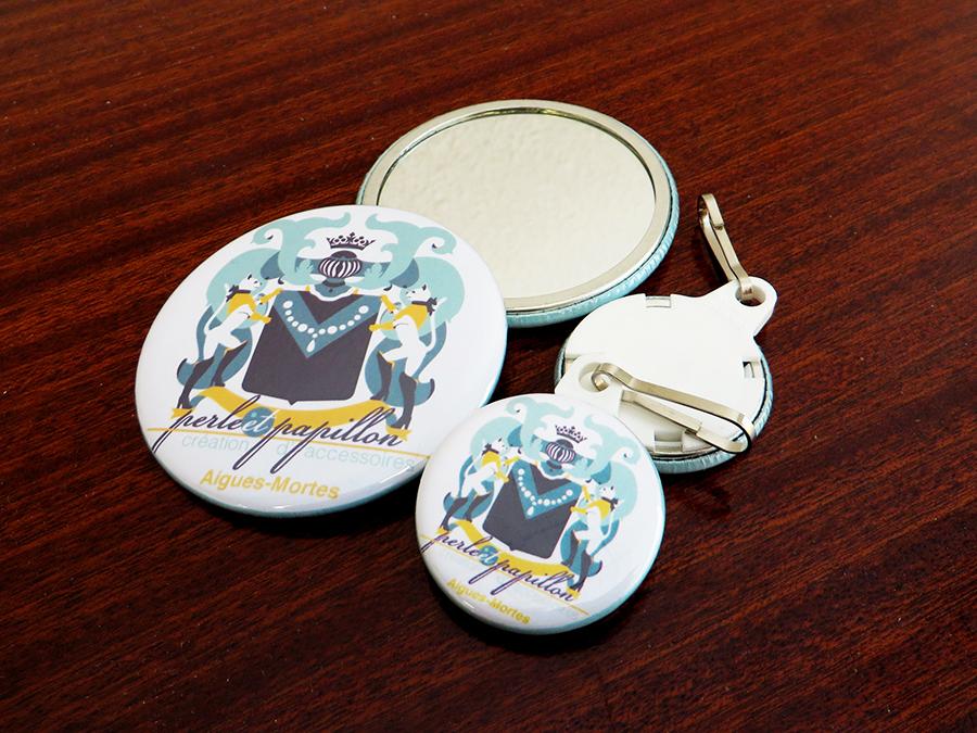 Tirettes Miroirs de poche Perle et Papillon